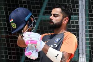 MELBOURNE, AUSTRALIA - DECEMBER 24: Virat Kohli of India prepares to bat in the nets during an India training session at Melbourne Cricket Ground on December 24, 2018 in Melbourne, Australia.