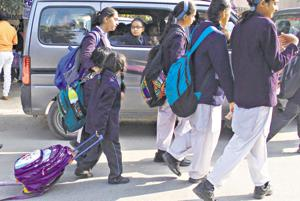 Most students are oblivious to the Haryana government guidelines regulating the weight of school bags set after the Union HRD ministry directed states to reduce homework for students and reduce the weight of their school bags.