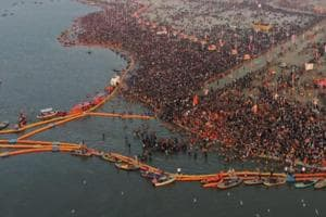 An aerial view of the devotees at the Kumbh Mela in Allahabad on January 15.