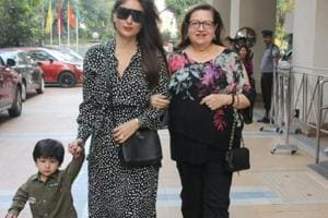 Taimur Ali Khan spotted with mother Kareena Kapoor Khan and grandmother Babita.