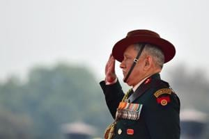 Army chief General Bipin Rawat takes the salute during the Army Day Parade in New Delhi on Tuesday.