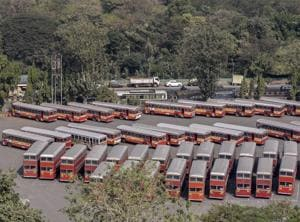 BEST buses parked at Dharavi bus depot.