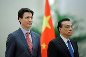 File photo of Canadian PM Justin Trudeau and Chinese premier Li Keqiang.