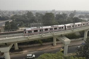 A top view of the Pink line of Delh Metro. A 1.3-km link between Mayur Vihar Pocket-I and Trilokpuri  on this line is yet to be completed.