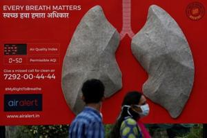 People pass by an installation of an artificial model of lungs to illustrate the effect of air pollution outside a hospital in New Delhi, November 5, 2018.
