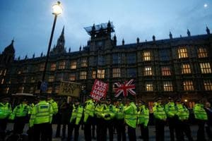 Brexit deal: Police officers stand outside the Houses of Parliament, ahead of a vote on Prime Minister Theresa May