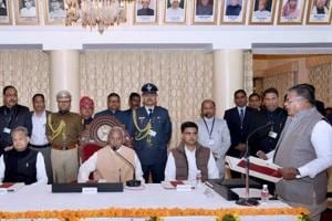 Rajasthan Governor Kalyan Singh administering oath to Gulab Chand Kataria as Protem speaker of the assembly in the presence of chief minister Ashok Gehlot, deputy CM Sachin Pilot and others, on Monday, January 14, 2019.