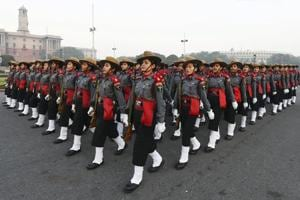 Assam Rifles' women contingent rehearse for the upcoming Republic Day Parade in New Delhi.