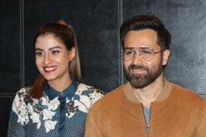 Actors Shreya Dhanwanthary and Emraan Hashmi at a press conference to promote their upcoming film Why Cheat India in New Delhi.