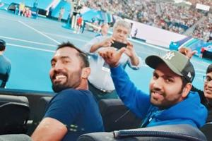 Rohit Sharma and Dinesh Karthik at the Australian Open.