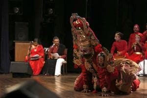 """Kattaikkuttu uses colours, masks and costumes to great effect. """"The idea is to showcase both forms on an equal footing, even though they represent different social and aesthetic worlds,"""" says director of Karnatik Kattaikuttu, Rajagopal."""