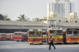 BEST buses parked at Wadala bus depot after BEST employees go on strike to press for several of their demands in Mumbai, India, on January 15.