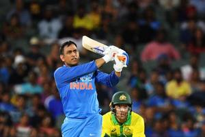 MS Dhoni of India bats during game two of the One Day International series between Australia and India at Adelaide Oval on January 15, 2019 in Adelaide, Australia