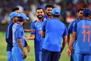 Virat Kohli of India celebrates with his team mates after game two of the One Day International series between Australia and India at Adelaide Oval on January 15, 2019 in Adelaide