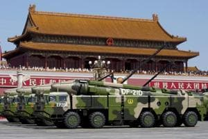 Chinese military vehicles carrying DF-21D anti-ship ballistic missiles.
