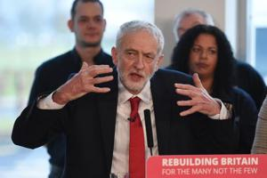 Opposition Labour party leader Jeremy Corbyn gives a speech on Brexit.