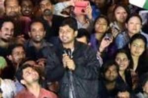 File photo of former JNUSU president Kanhaiya Kumar who has been charged with sedition for raising 'anti-India slogans' at an event in JNU campus on Feb 9, 2016.