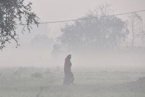A woman walks across an open field enveloped in dense fog on a cold winter morning, near Akshardham, in New Delhi on January 16.