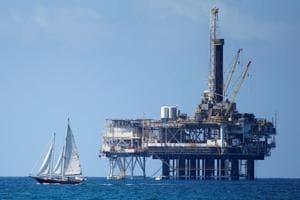 An offshore oil platform is seen in Huntington Beach, California.