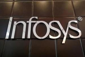 The logo of Infosys is pictured inside the company