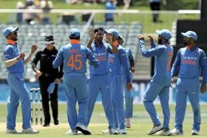 Indian team celebrates an Australian dismissal in their second ODI in Adelaide on Tuesday.