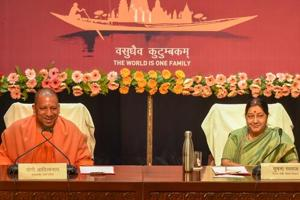 Lucknow: External Affairs Minister Sushma Swaraj and Uttar Pradesh Chief Minister Yogi Adityanath address a joint press conference on Pravasi Bhartiya Diwas, in Lucknow, Wednesday, Jan. 16, 2019.