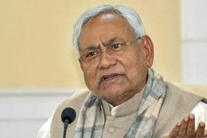 Bihar chief minister Nitish Kumar speaks to the media in Patna.