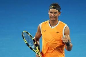 Rafael Nadal celebrates his Australan Open second round win over Matthew Ebden.