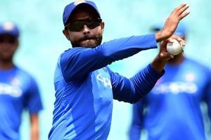 Ravindra Jadeja attends a team training session at the Sydney Cricket Ground in Sydney.