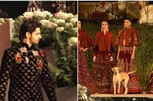 The dog was the star of Rohit Bal's latest fashion show.