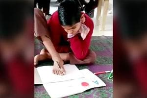 This boy is scripting his future with his feet-