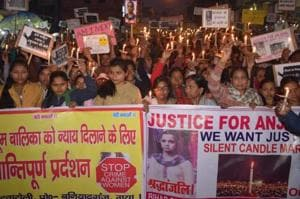 A protest march against the girl's murder in Gaya.