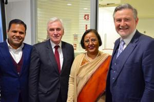 (L-R) Rajesh Agarwal, deputy mayor of London; John McDonnell, shadow chancellor; Ruchi Ghanshyam, Indian high commissioner; and Barry Gardiner, shadow international trade secretary, at the relaunch event of Labour Friends of India in London on Wednesday.