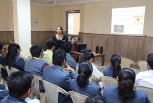 Counselling sessions for students underway at Blue Bells Public School, Sector 10, Gurugram. Schools across the city are trying to ensure that students don't face exam-related stress
