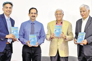 (From left) Aditya Jhunjhunwala,Sanjay Kirloskar, R. Gopalakrishnan and Pradip Bhargava were present at SME Founders Conclave at MCCIA Trade Tower in Pune, India, on Wednesday, January 16, 2019. (Photo by Milind Saurkar/Hindustan Times)