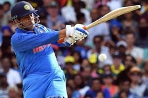 MSDhoni plays a shot during the first one day international (ODI) match between Australia and India.