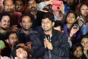 Former JNUSU president Kanhaiya Kumar (seen holding mike) and ninep others have been charged with sedition for shouting 'anti-India slogans' during an event in February,  2016.