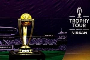 FILE PHOTO: The International Cricket Council (ICC) Cricket World Cup 2019 Trophy, is seen during its tour at the National Stadium in Karachi, Pakistan October 7, 2018