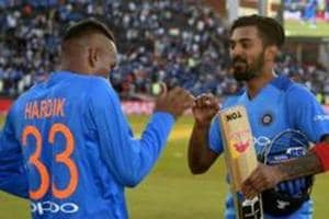 MANCHESTER, ENGLAND - JULY 03: Lokesh Rahul of India celebrates with Hardik Pandya after winning the 1st Vitality International T20 match between England and India at Emirates Old Trafford on July 3, 2018 in Manchester, England.