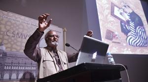 Gulammohammad Shiekh lectures at CSMVS on Thursday.