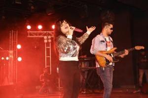 Singer Aditi Singh Sharma rocked teh stage at Janki Devi Memorial College's Star Night
