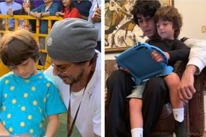 Shah Rukh Khan's sons Aryan and AbRam are seen bonding in a new picture shared by the actor.