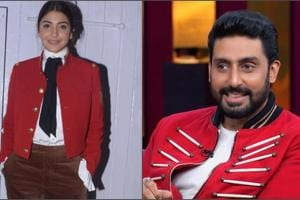 Abhishek Bachchan in the latest episode of Koffee With Karan Season 6 wore a red guard jacket.  Anushka Sharma was seen sporting the guard jacket recently at a promotional event for her film Zero.