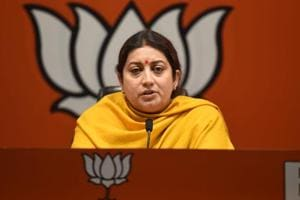 Union Minister, Smriti Irani address a press conference at BjP headquarter Deendayal Upadhyay Marg, Photos by Amal KS