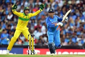 MSDhoni in action during the first one-day international (ODI) match between Australia and India.