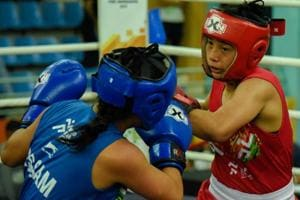 Babyrojisana Chanu in action during the Khelo India Youth Games.