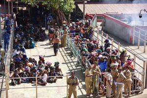 Devotees wait in line to visit the Sabarimala temple in Kerala following the entry of two women on January 2.