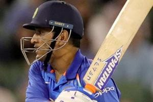 MS Dhoni in action during the third one-day international match between Australia and India.