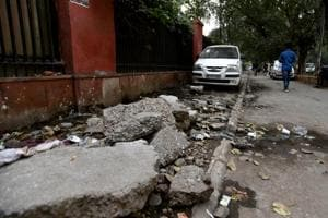 This is what remains of a footpath near Lok Nayak Hospital.
