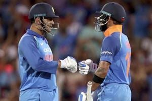 MSDhoni and Virat Kohli in action during the ODIencounter between India and Australia.